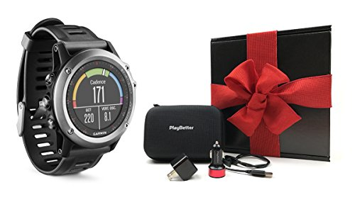 Garmin fenix 3 (Gray) GIFT BOX Bundle | Includes Multi-Sport GPS Fitness Watch, PlayBetter USB Car &