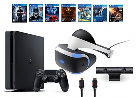 PlayStation VR Bundle 9 Items:VR Headset,Playstation Camera,PS4 Slim- Uncharted 4,6 VR Game Disc Unt